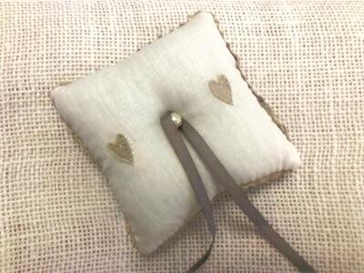 Shabby Chic Hearts Ring Cushion | Wedding Gifts