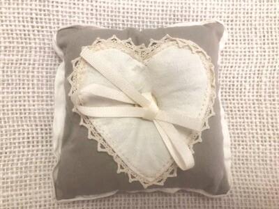 Shabby Chic Grey & Natural Heart Ring Cushion | Wedding Gifts