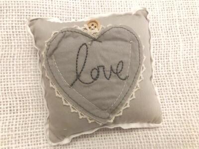 Shabby Chic Love Heart Ring Cushion | Wedding Gifts