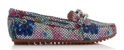 Einer Floral Chain Jewel Trim Flat Moccasin