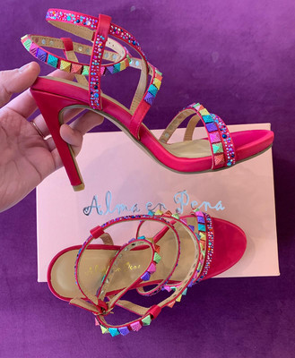 V19322 Pink Jewelled Strappy High Heel