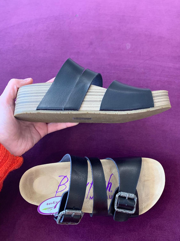 Major Black Leather Strappy Sandal