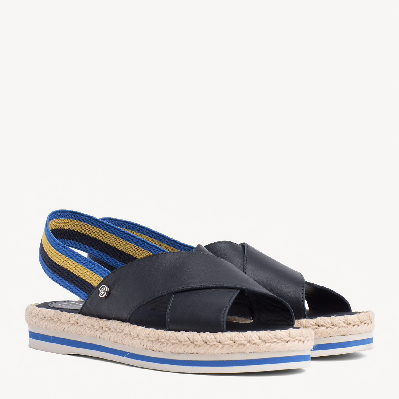 Navy Colorful Rope Flat Sandal