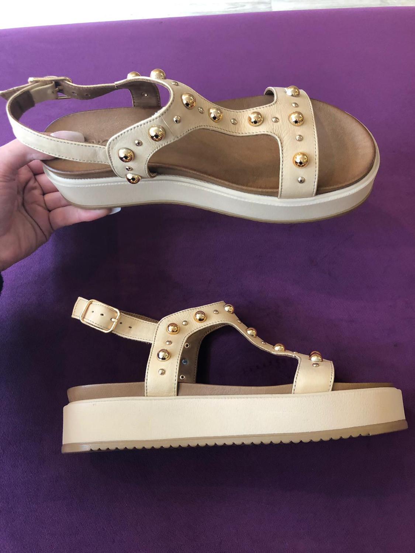 Beige Platform Sandal Gold Stud Detail