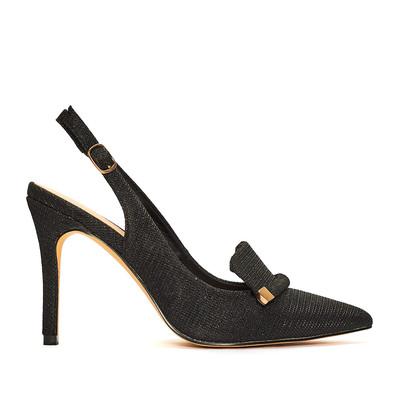Black Glitter Slingback Shoe