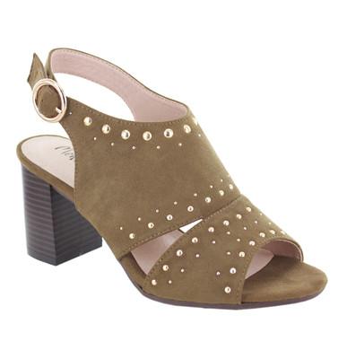 Moss Suede Block Heel Sandal Stud Detail