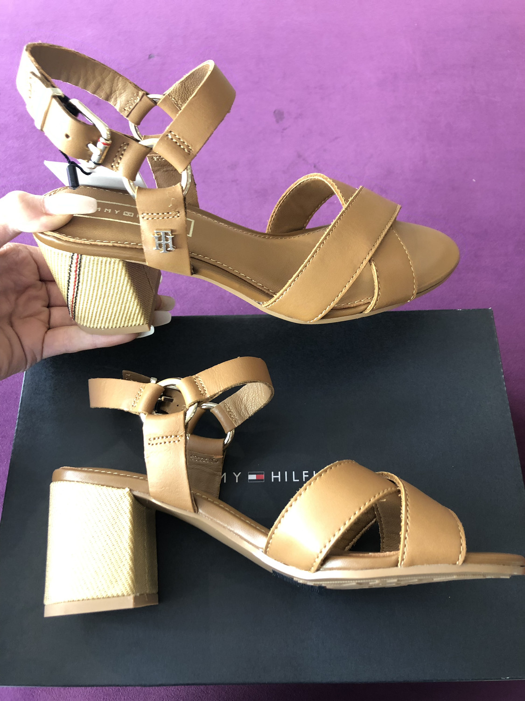 Summer Cognac Elevated Leather Heeled Sandal