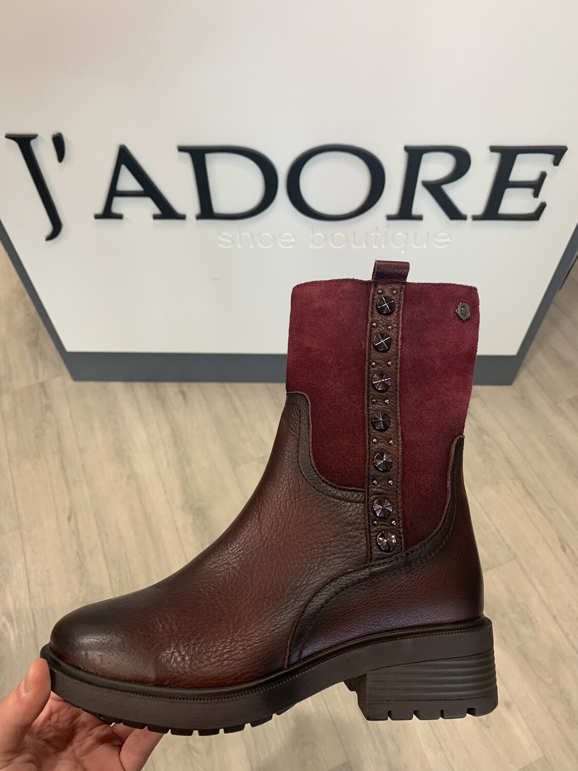 Burgundy Ankle Boot With Stud Detail
