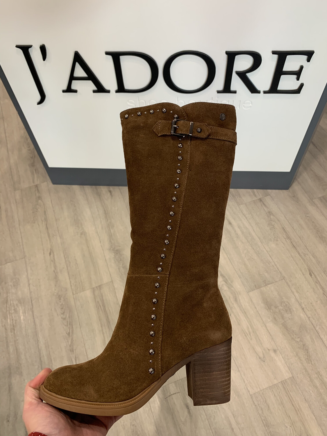 Camel Suede Long Boot With Stud Detail