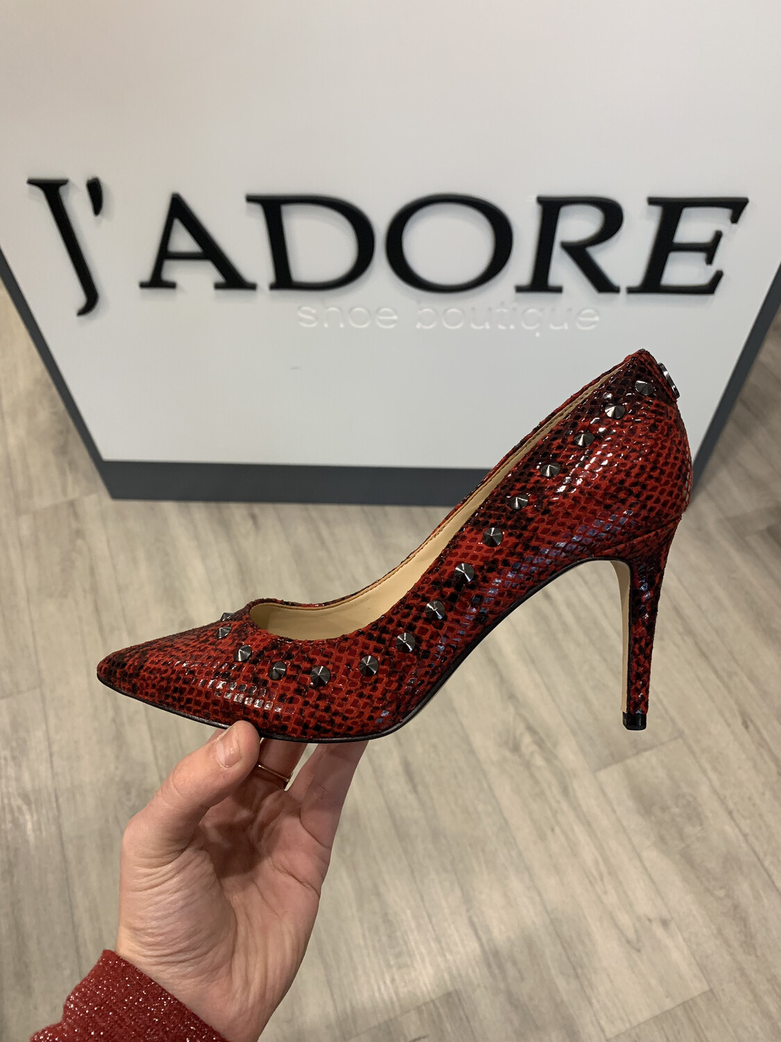 Bolden Red Studded Heel
