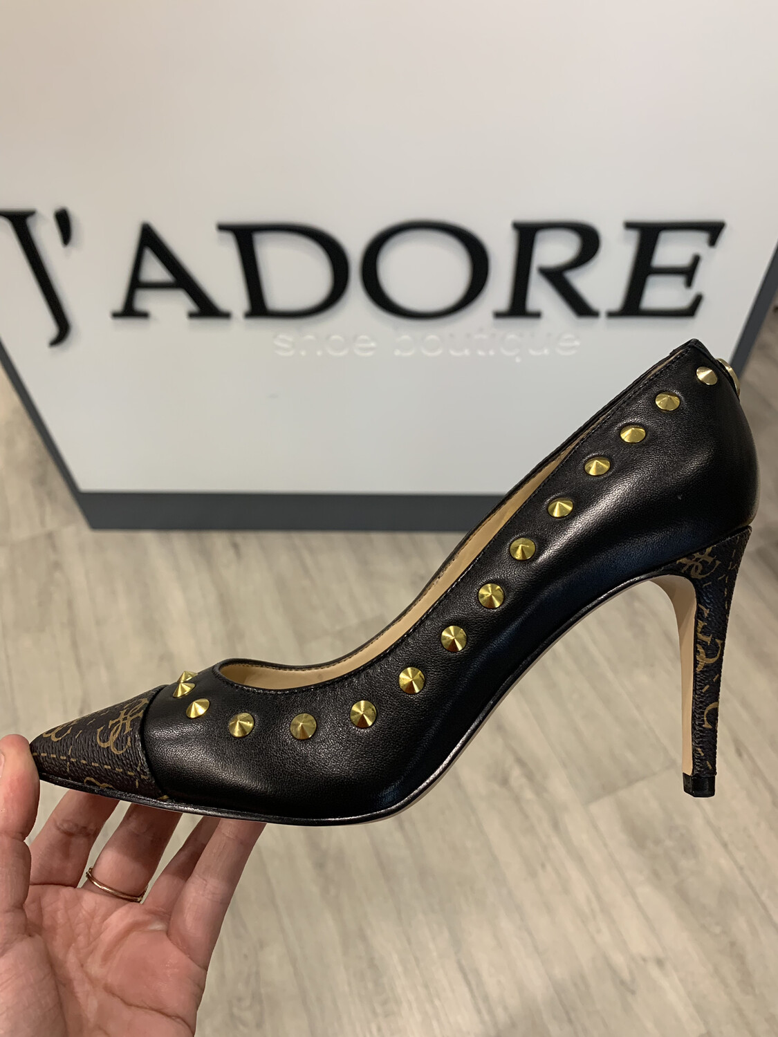 Bolden Black Leather Heel With Studded Detail