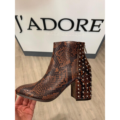 Jillian - S Brown Snake Print Leather Boot With Studded Detail