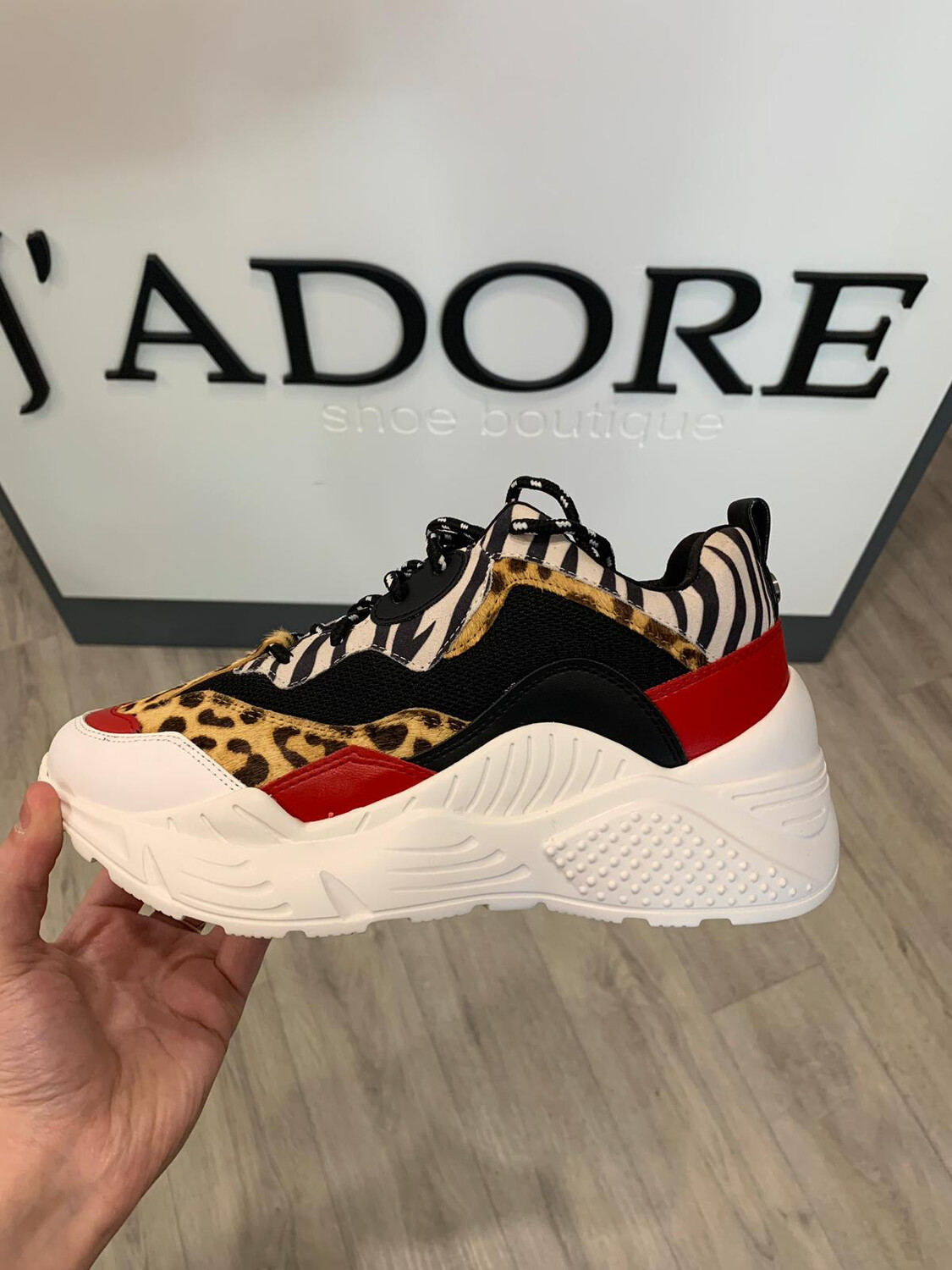 Antonia Red Multi Fabric/ Synthetic Sneaker