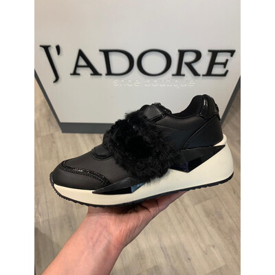 Black Trainer With Fur Detail