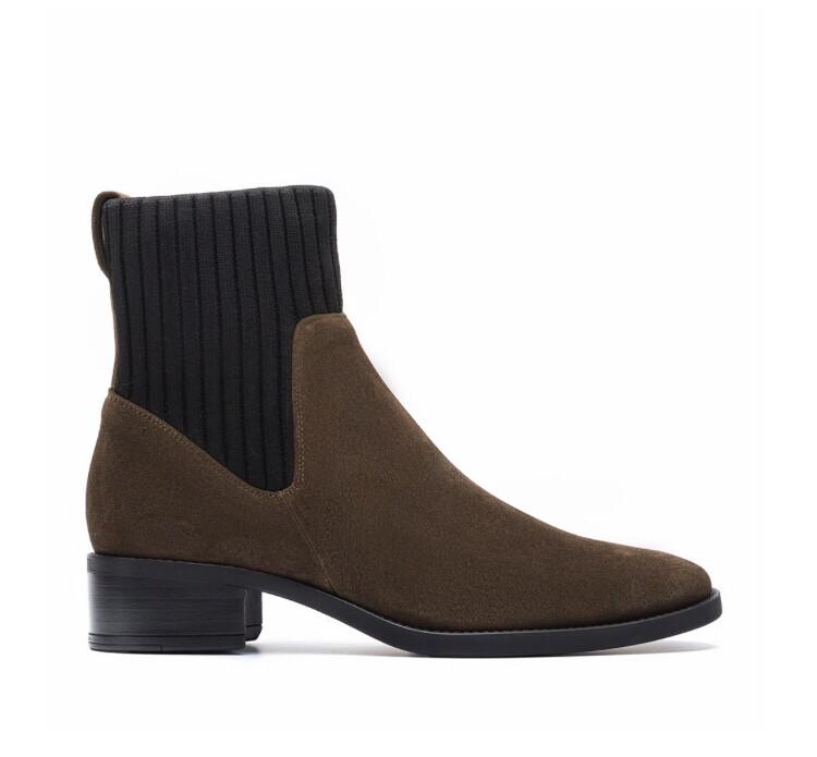 Ellen BS Hunter Brown Suede/material Ankle Boot