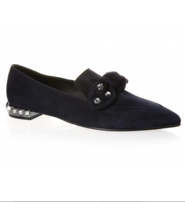 4948 Navy Suede Jewelled Pointed Pump
