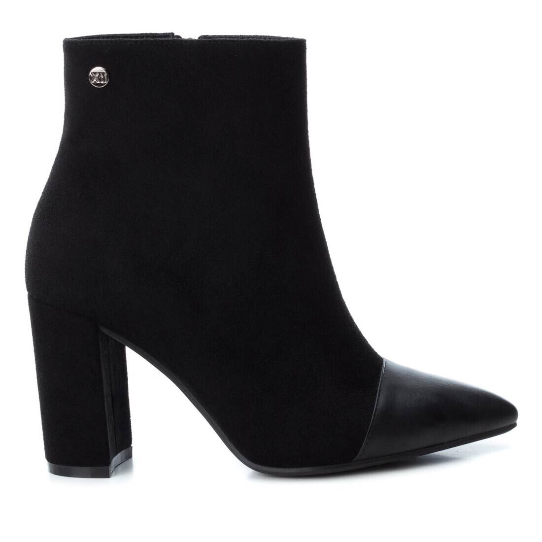 Black Suede Ankle Boot With Leather Front