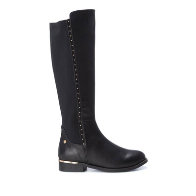 Black Knee High Boot With Studding