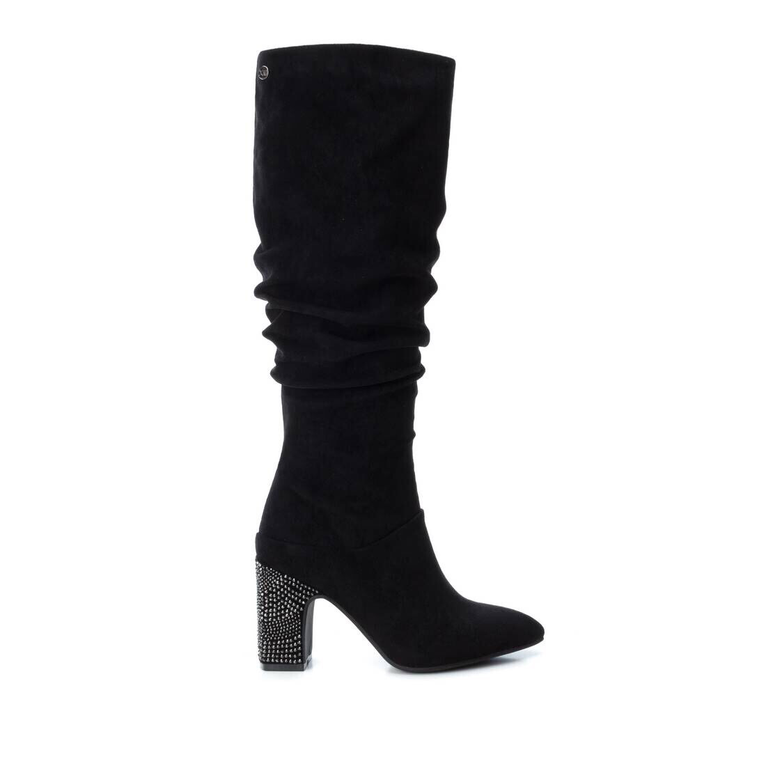 Black Knee High Jewelled Heel Boot