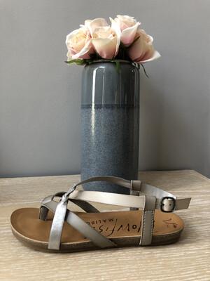 Grey Mist Steel Strappy Sandal