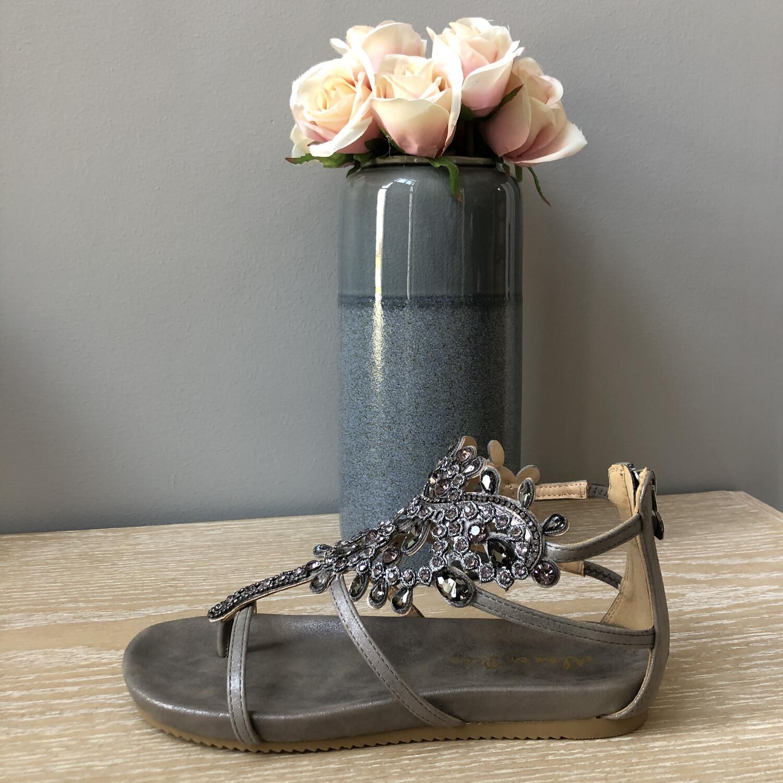 Pewter Silver Jewel Embellished Sandal