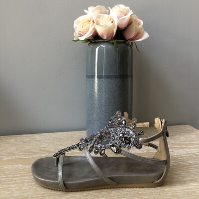 Pewter Silver Jewel Embellished Sandal