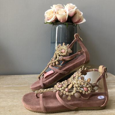 Lavender Suede Stone Embellished Sandal