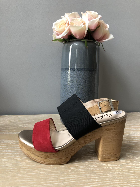 Black & Red Wooden Heel Sandal