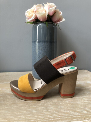 Mustard Chocolate And Burnt Orange Block Heel Sandal