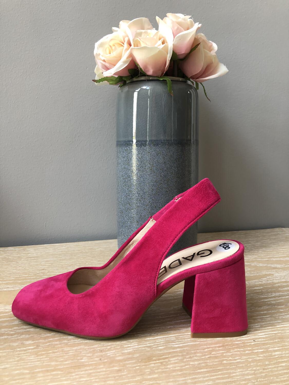 Hot Pink Block Heel Sling Back