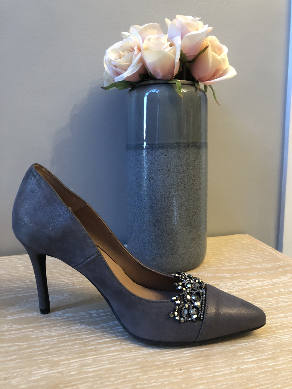 Marian - 3713 Grey Embellished Court Shoe