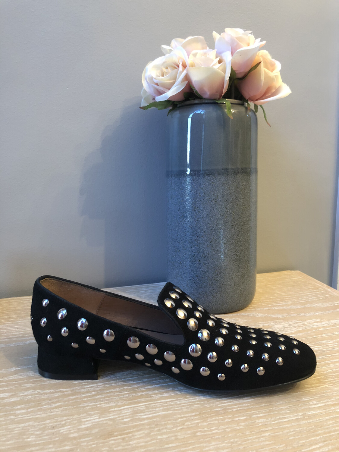 Marian - 8704 Black Suede Loafer With Stud Detail