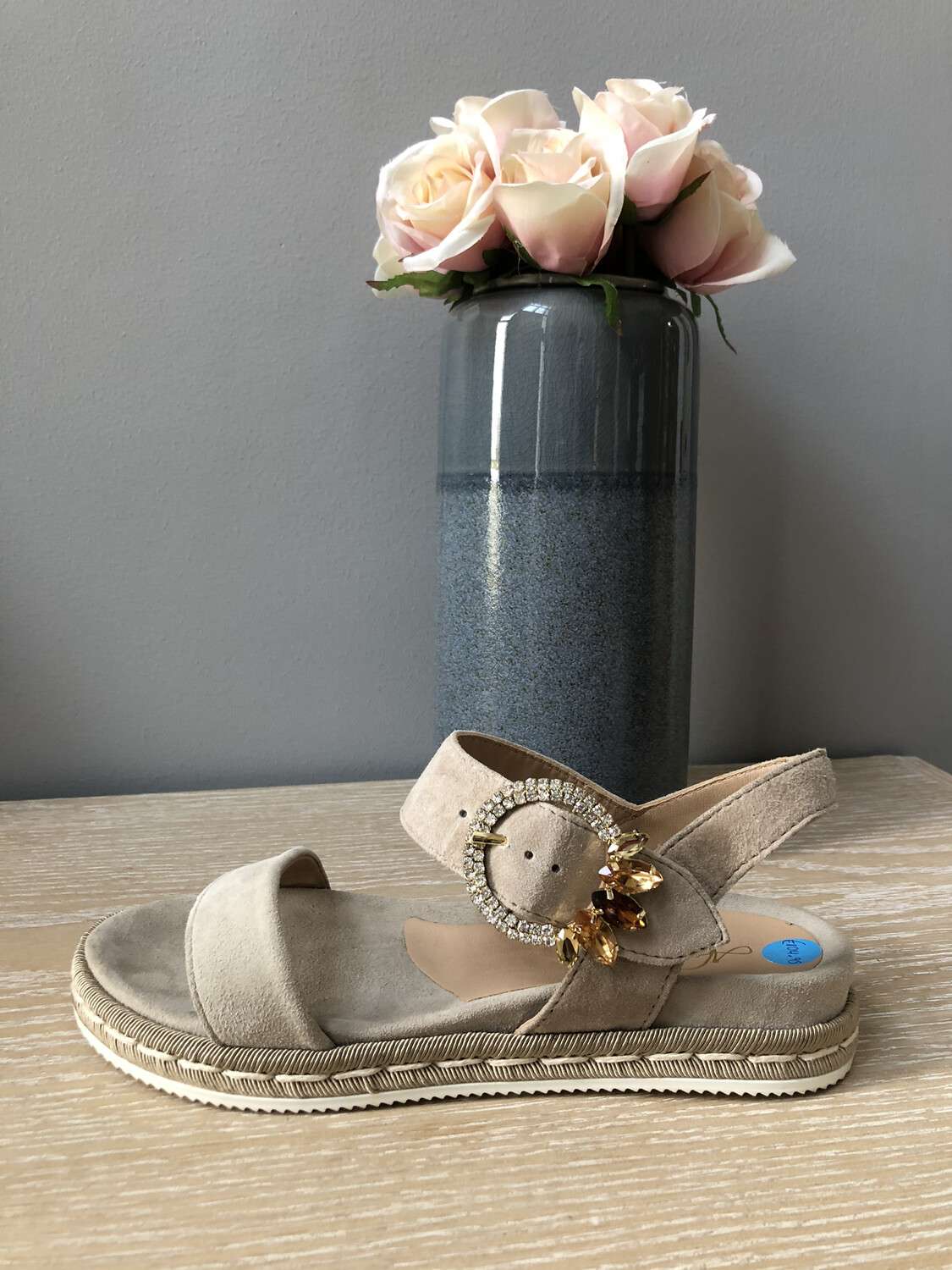 Taupe Suede Flat Sandal with Embellished Buckle