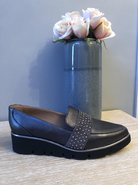 32709 Grey Leather Slip on with Stud Embellishment