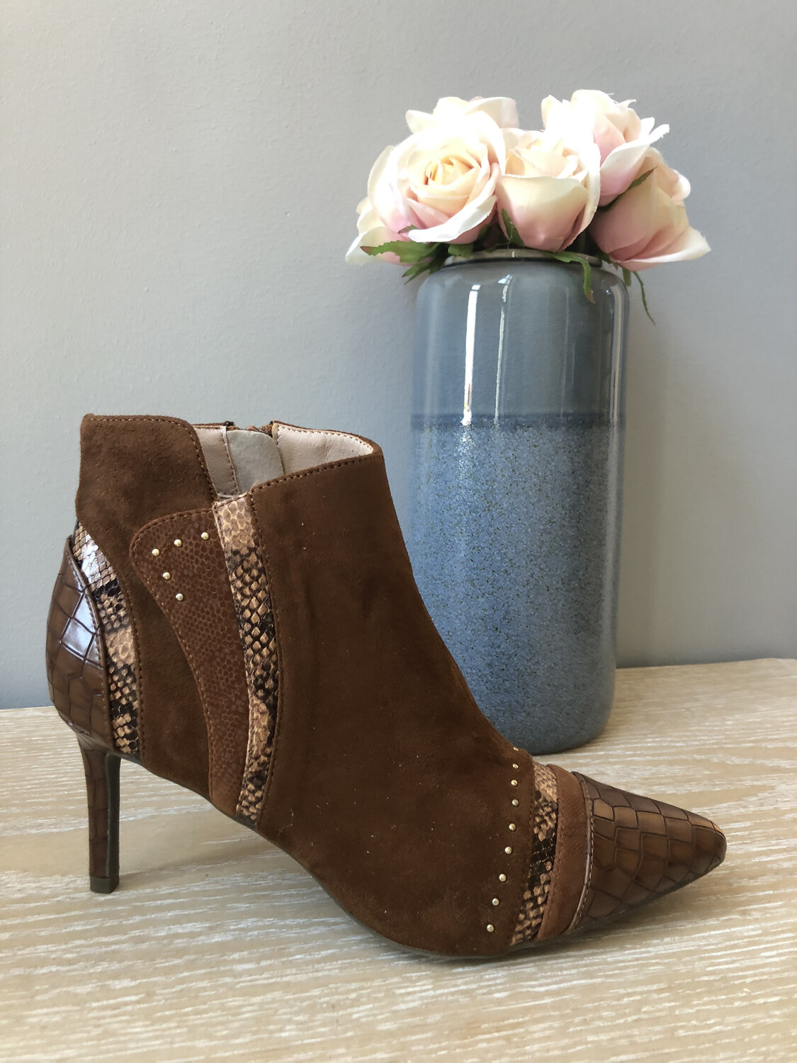 Suede Ankle Boot with Leopard Detail