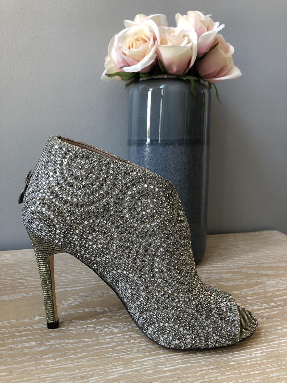 Grey Silver Diamanté Shoe Boot
