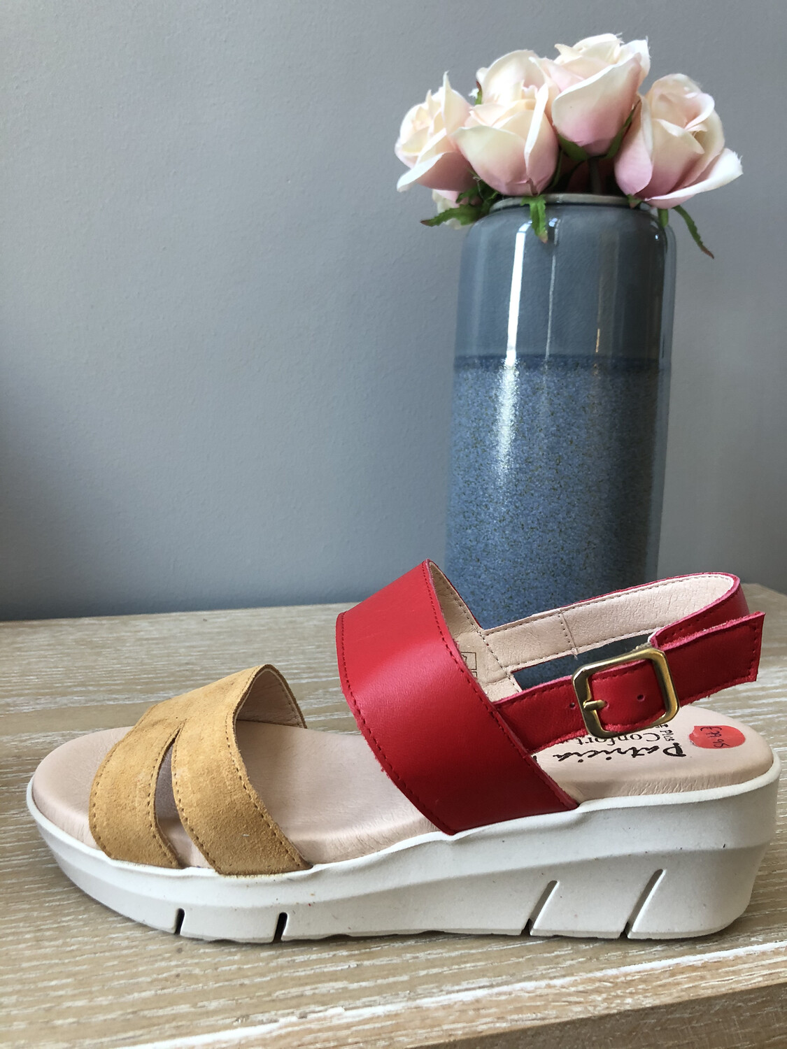 Red Leather & Camel Suede Sandal