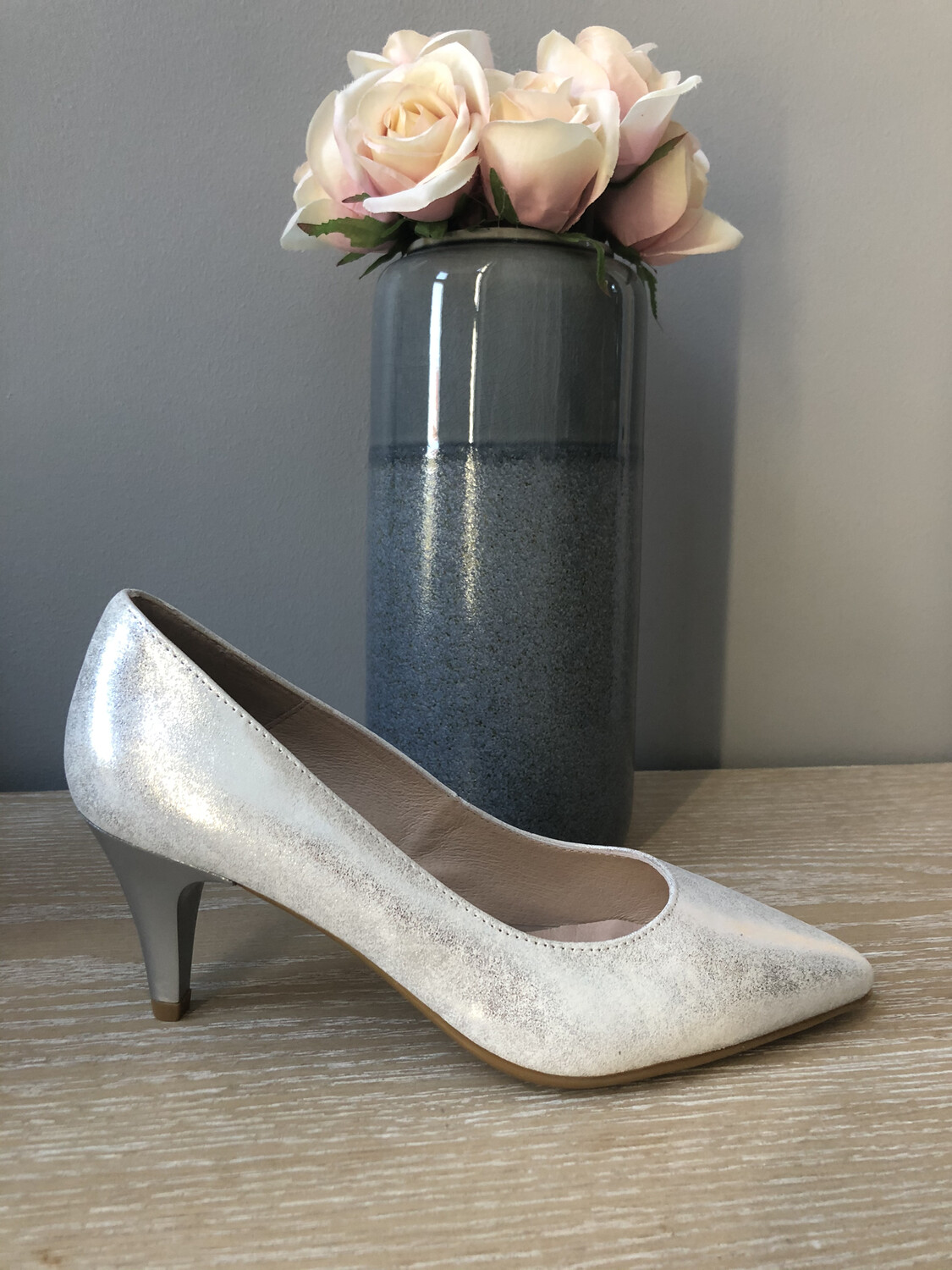 Silver Metallic Leather Low Heel Court