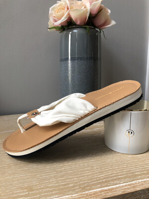 Whisper White Leather Footbed Beach Flip Flop