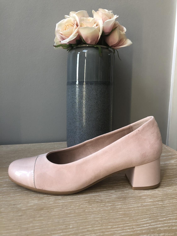 Dusky Pink Round Toe Block Heel Court