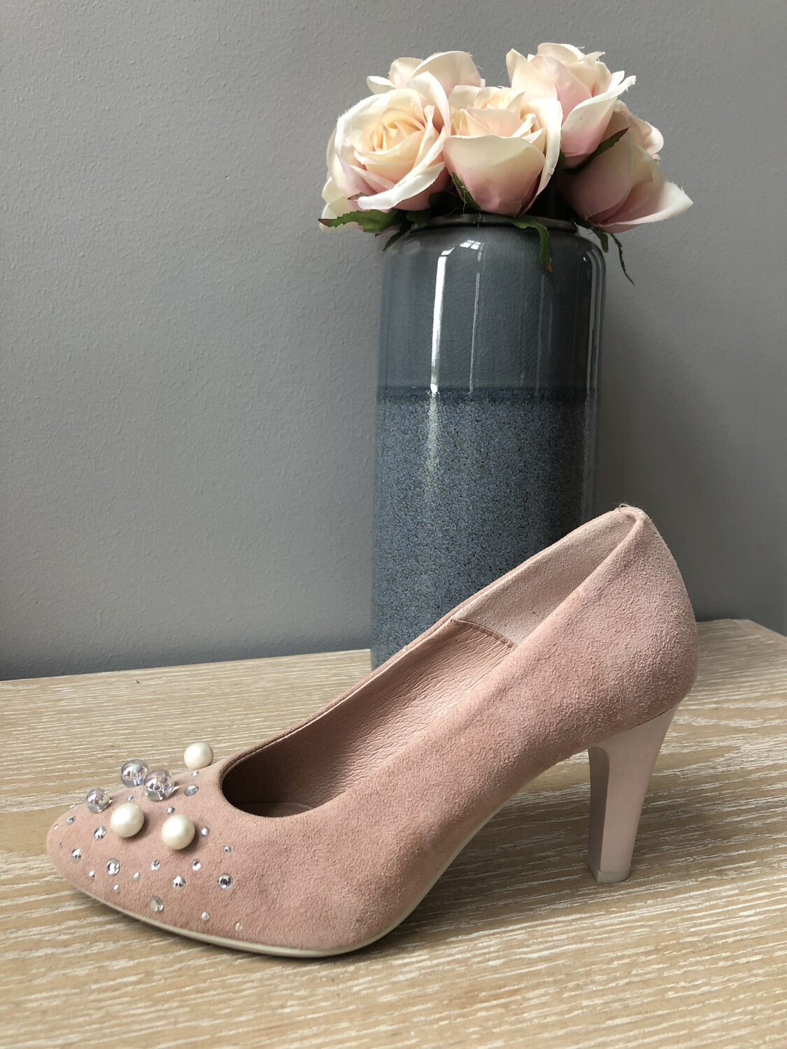 Dusky Pink Suede Court Shoe with Pearl Detail