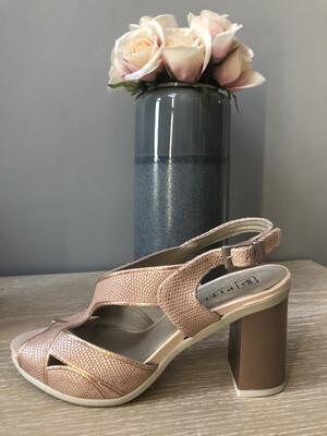 Dusky Pink Metallic Block Heel Slingback