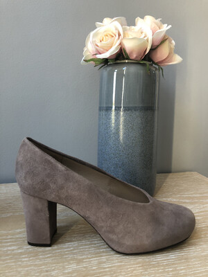 Nebula Taupe Block Heel Court Shoe