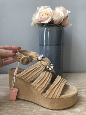 Suede Sand Jewel Wedge