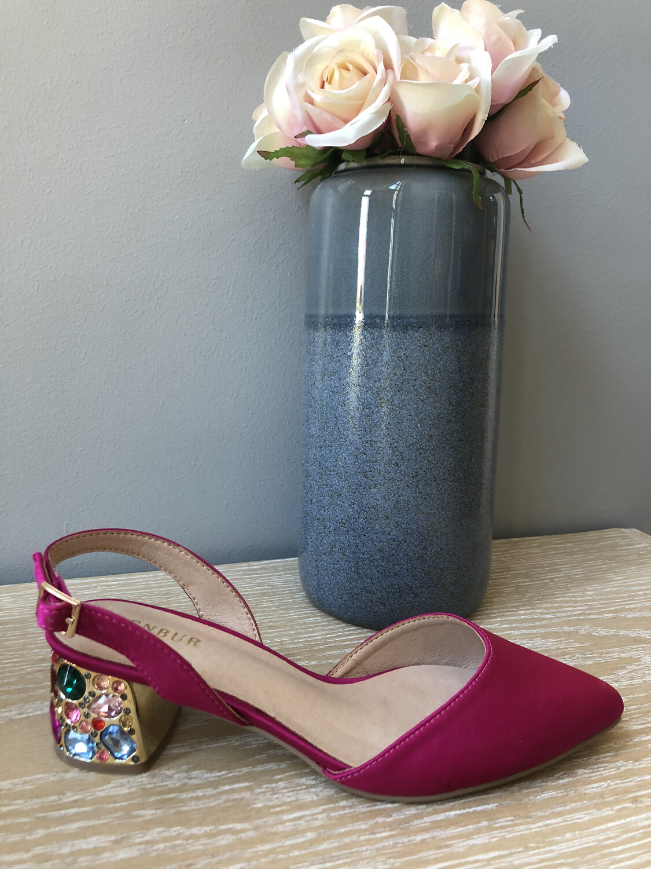 Fuchsia Slingback Embellished Heel