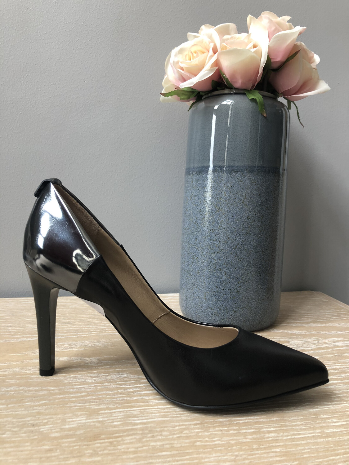 Black Leather Court Shoe With Chrome Heel