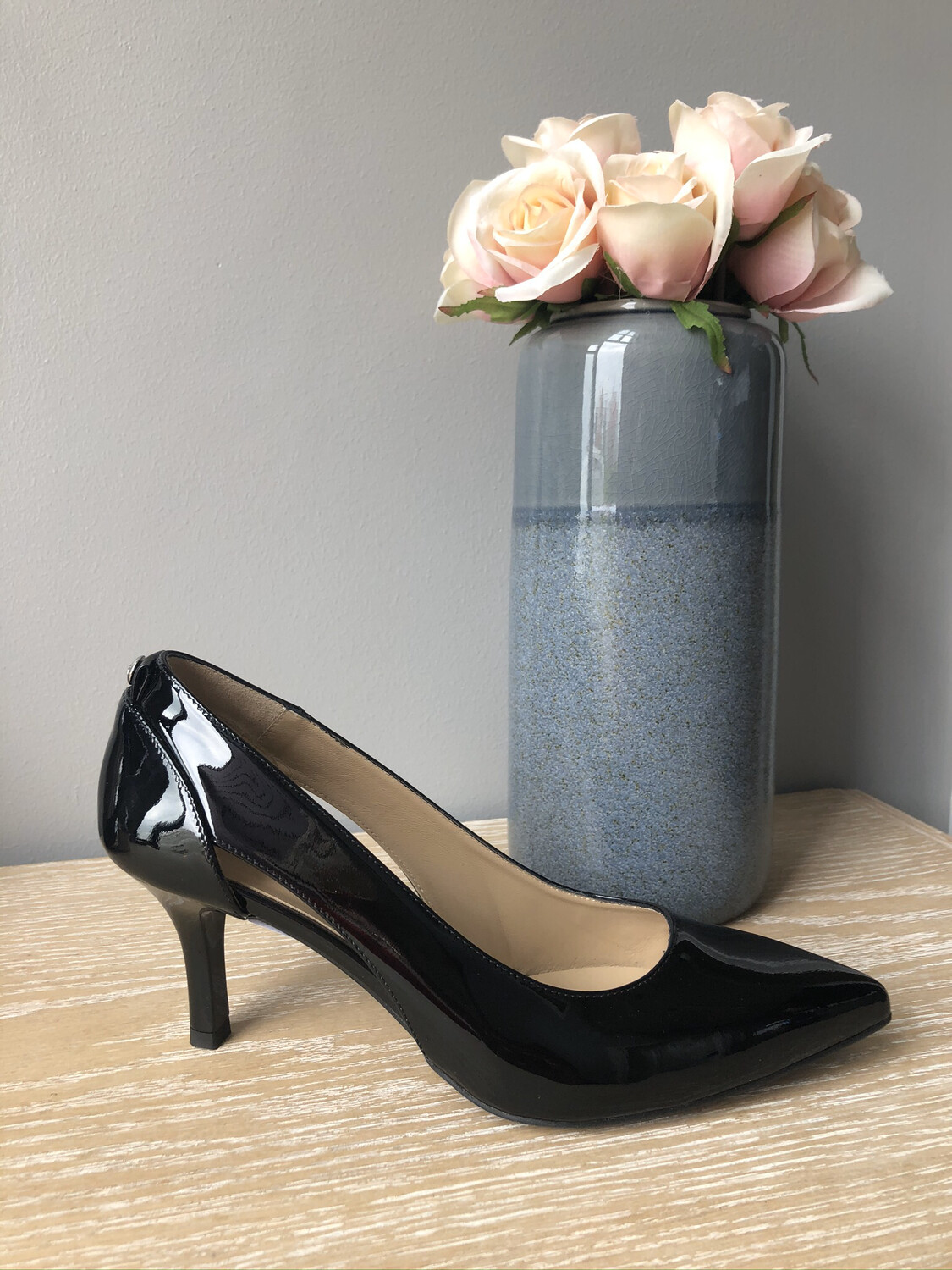 Black Patent Kitten Heel With Cut Out Detail