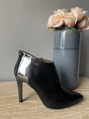 Black Leather Shootie With Chrome Heel