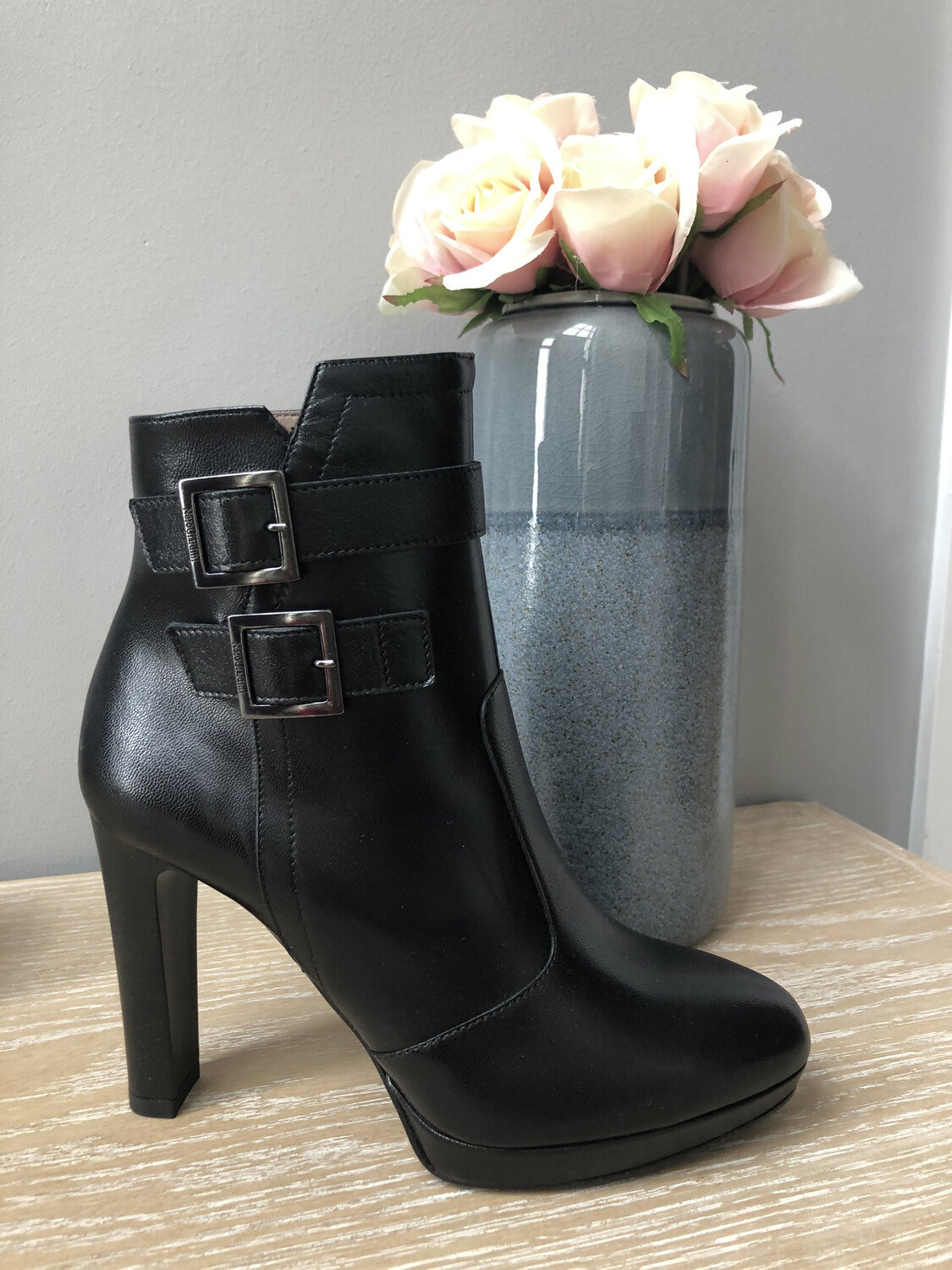 Black High Heel Platform Ankle Boot With Buckle Detail