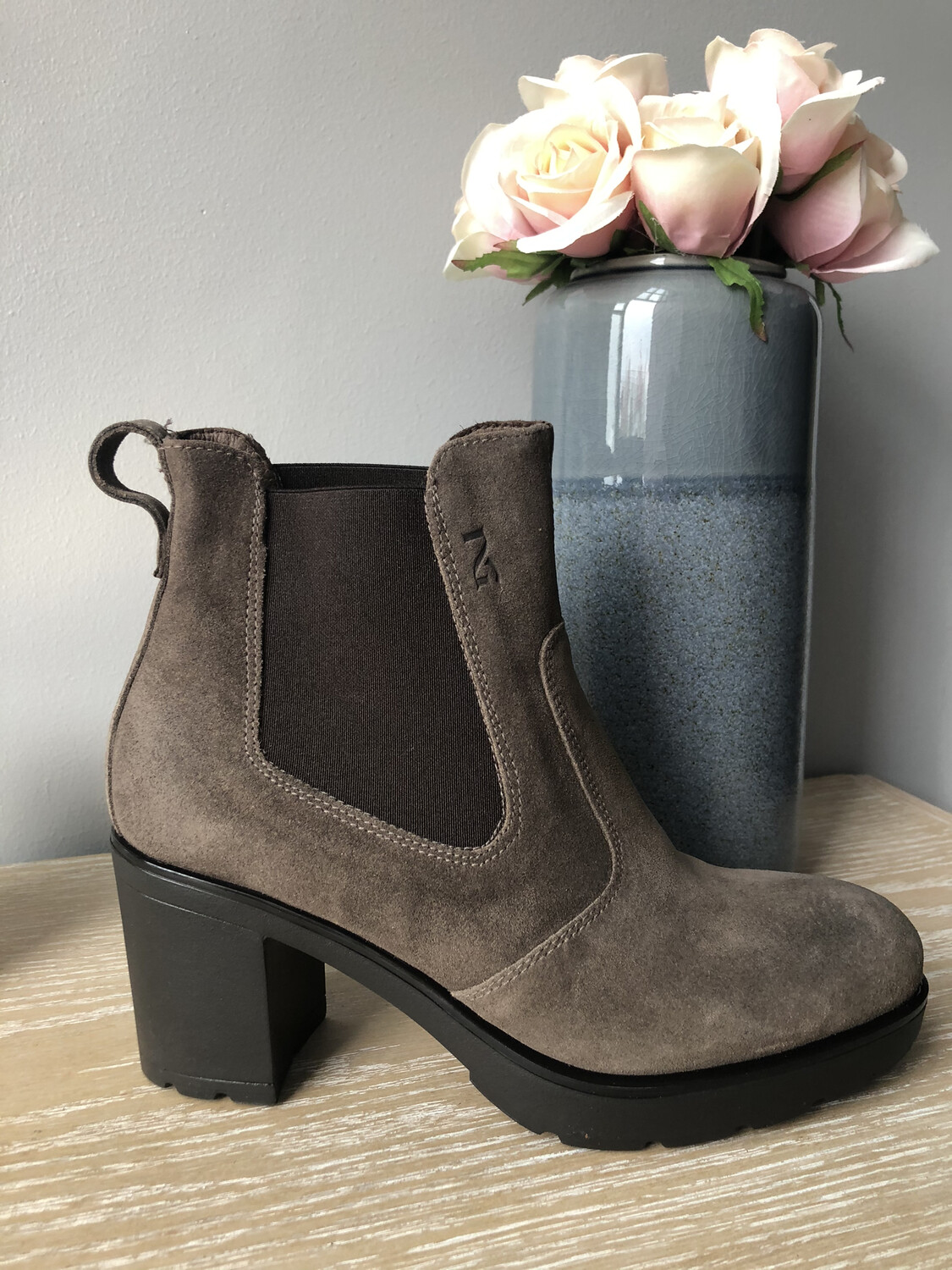 Khaki Suede Elasticated Ankle Boot
